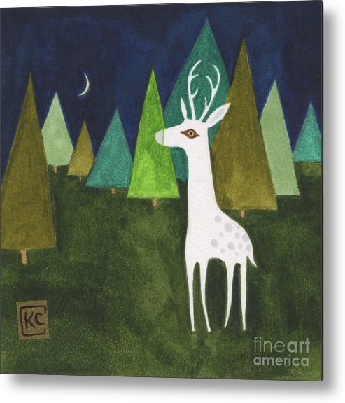 Albino Metal Print featuring the painting The Albino Deer by Kate Cosgrove