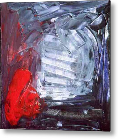Silver Metal Print featuring the painting The Chrome Heart Chamber by Bruce Combs - REACH BEYOND