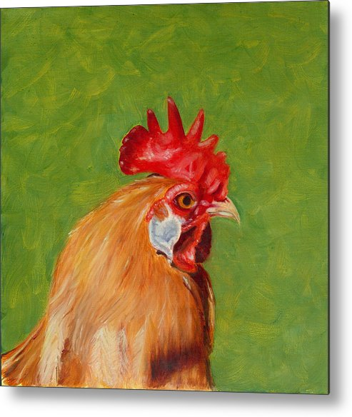 Rooster Metal Print featuring the painting The Gladiator by Paula Emery