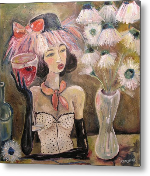 Wine Metal Print featuring the painting The Lady In The Flower Hat by Jenna Fournier