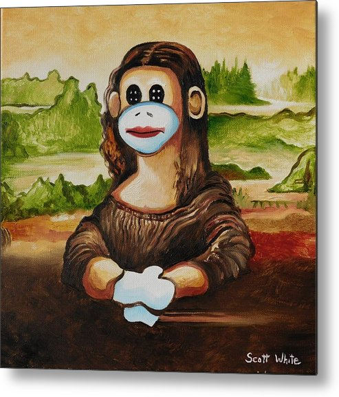 Sock Metal Print featuring the painting The Monkey Lisa by Scott White