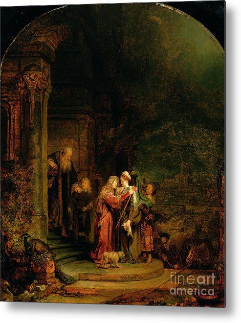 The Metal Print featuring the painting The Visitation by Rembrandt Harmensz van Rijn