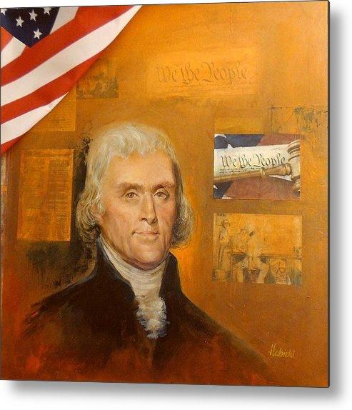 Thomas Jefferson Metal Print featuring the mixed media Thomas Jefferson by Bernie Habicht