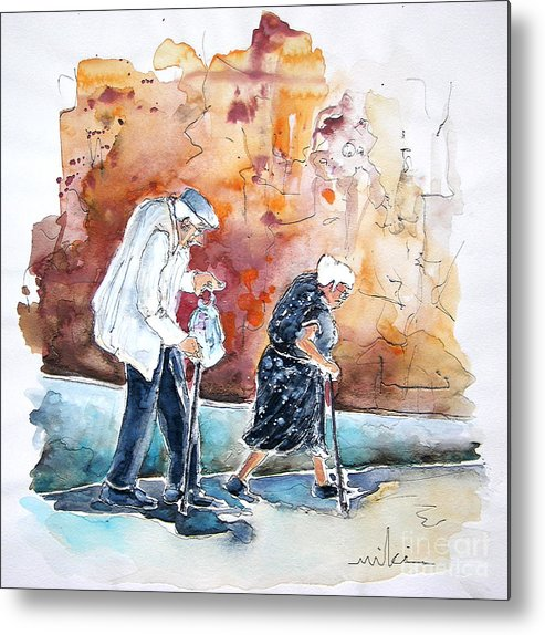 Portugal Paintings Metal Print featuring the painting Together Old In Portugal 01 by Miki De Goodaboom