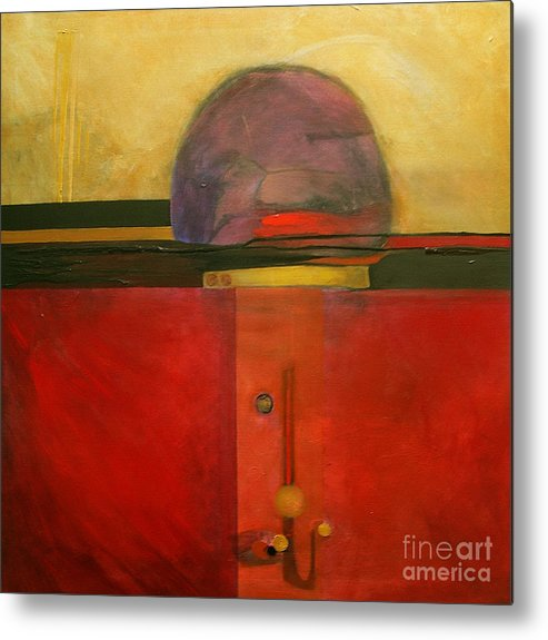 Abstract Metal Print featuring the painting Tops by Marlene Burns