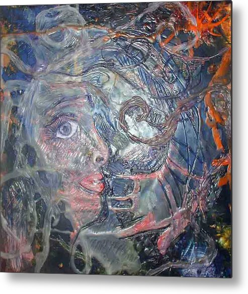 Abstract Metal Print featuring the painting Touched by Heather Hennick