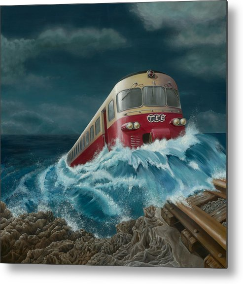 Surreal Metal Print featuring the painting Trans Europe Express by Patricia Van Lubeck