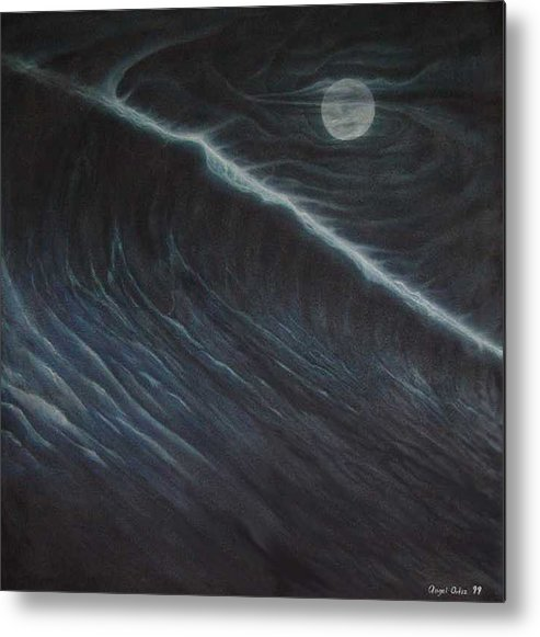 Seascapes Metal Print featuring the painting Tsunami by Angel Ortiz