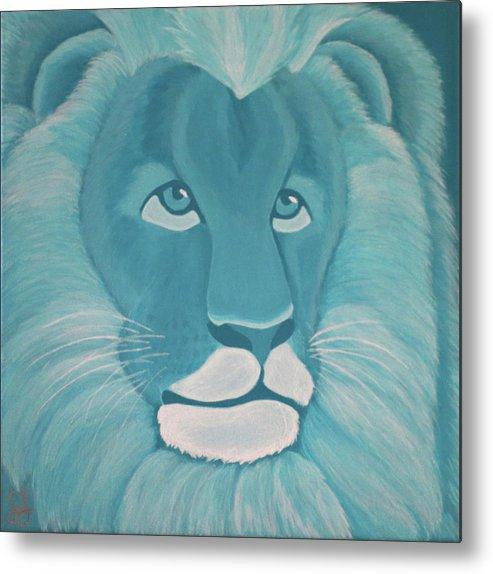 Turquoise Lion Metal Print