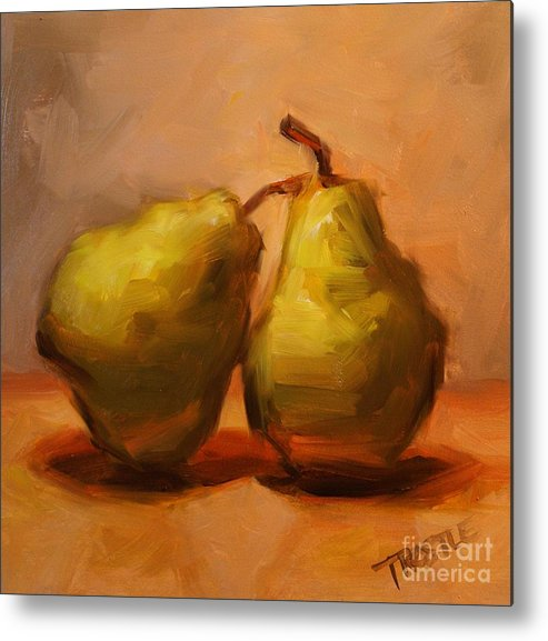 Pears Metal Print featuring the painting Two Green Pairs Print Lean On Me by Patti Trostle