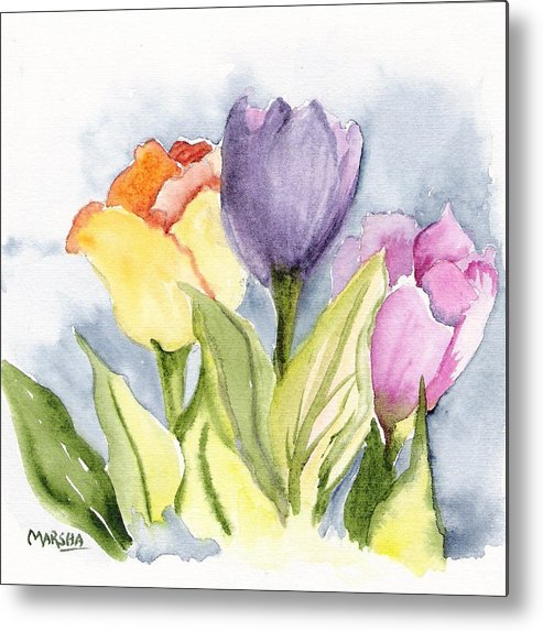 Tulips Flowers Floral Gardens Painting Purple Yellow Pink Metal Print featuring the painting Vickis Tulip by Marsha Woods