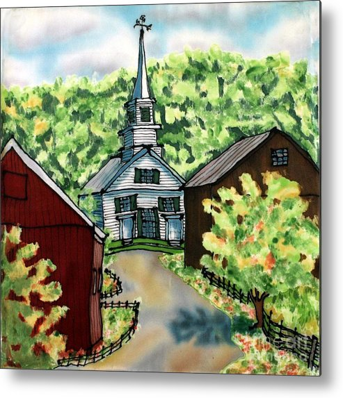 Church Metal Print featuring the painting Waits River Church by Linda Marcille