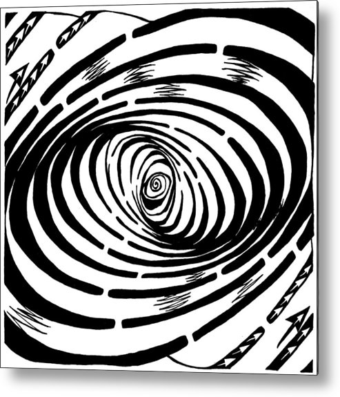 Wave Metal Print featuring the drawing Wave Swirl Maze by Yonatan Frimer Maze Artist