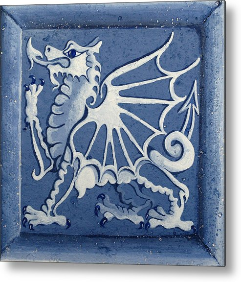 Heritage Metal Print featuring the painting Welsh Dragon Panel by Joyce Hutchinson