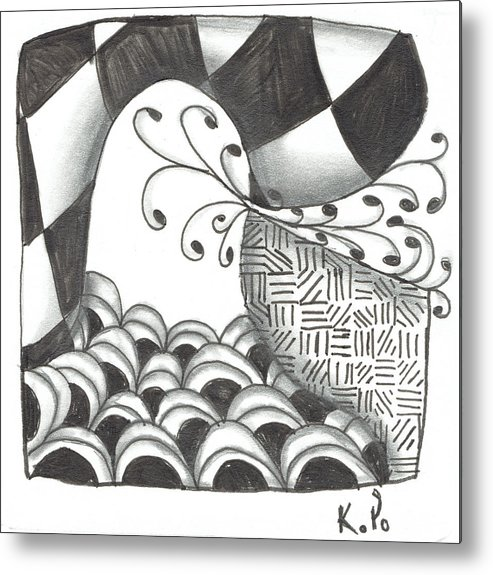 Zentangle Metal Print featuring the mixed media White Zen 16 by Kitty Perkins