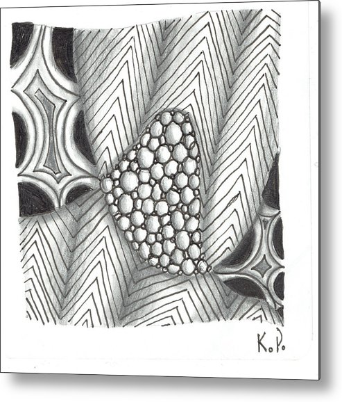 Zentangle Metal Print featuring the mixed media White Zen 19 by Kitty Perkins