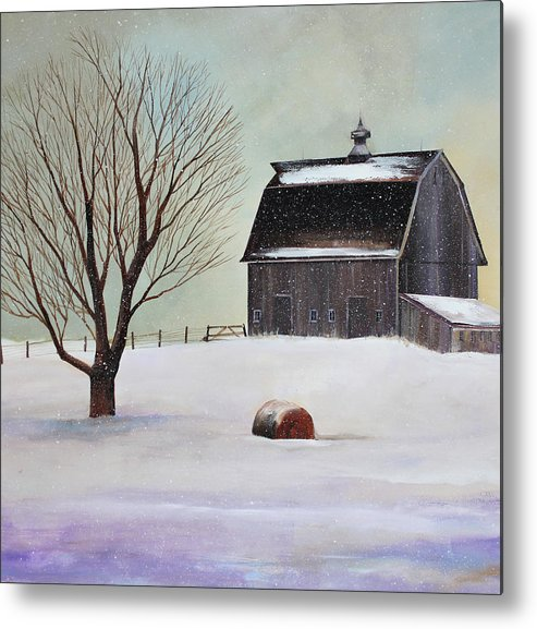 Barn Metal Print featuring the painting Winter Barn II by Toni Grote