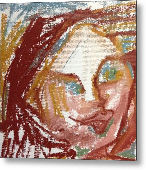 Portrait Metal Print featuring the painting Woman Out Of Present Time by Rosalinde Reece