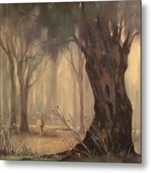 Landscape Metal Print featuring the painting Woodland Fawn by Ruth Stromswold