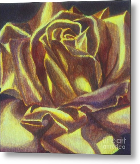Rose Metal Print featuring the painting Yellow Rose by Emily Young