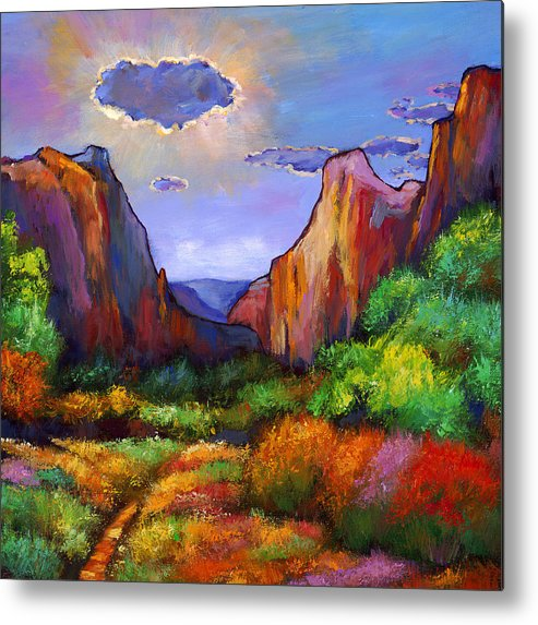 Southwest Landscapes Metal Print featuring the painting Zion Dreams by Johnathan Harris