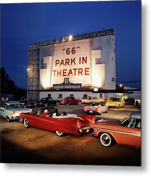 Heterosexual Couple Metal Print featuring the photograph 66 Park-in Theater by Car Culture