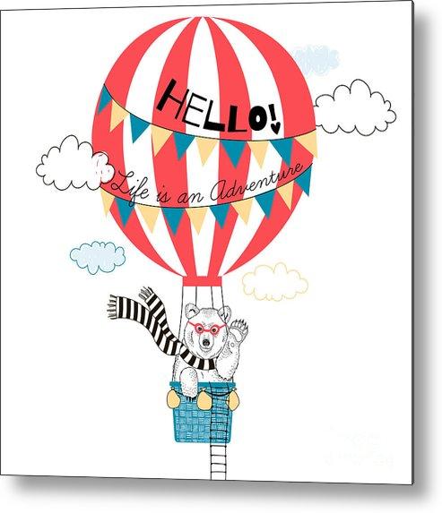 Fancy Metal Print featuring the digital art Bear Flying In Air Balloon, Animal by Olga angelloz