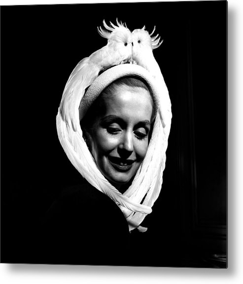 Fashion Model Metal Print featuring the photograph Bird Hat For Ben Bess Hats by Robert Natkin