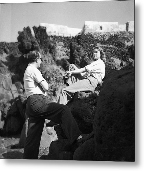 Timeincown Metal Print featuring the photograph Director Roberto Rossellini Speaking W by Gordon Parks