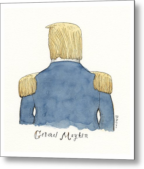 Captionless Metal Print featuring the drawing General Mayhem by Barry Blitt
