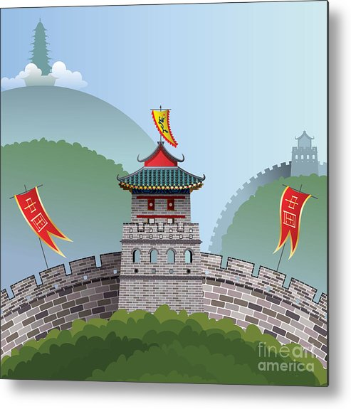 Illustrations Metal Print featuring the digital art Great Wall Of China by Nikola Knezevic