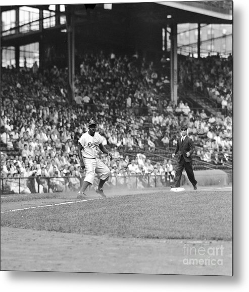 1950-1959 Metal Print featuring the photograph Jackie Robinson At Ebbets Field, 1956 by Robert Riger
