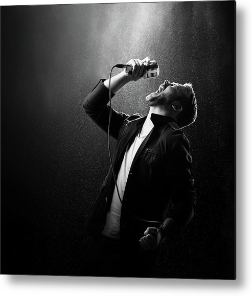 Singer Metal Print featuring the photograph Male Singer Performing by Johan Swanepoel