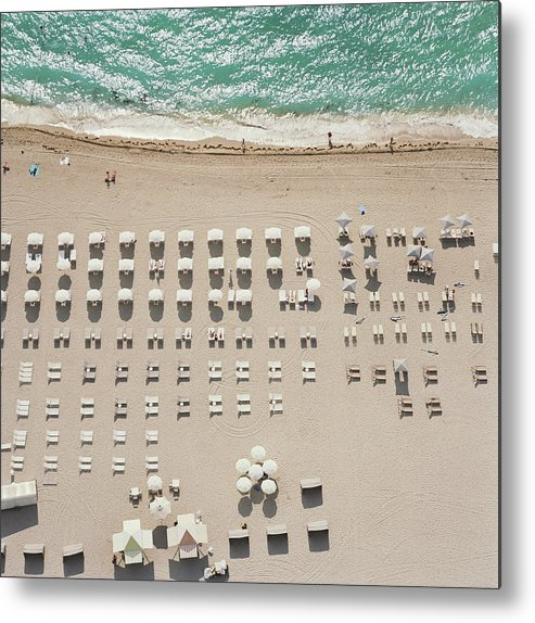 Water's Edge Metal Print featuring the photograph People At Beach, Using Rows Of Beach by John Humble