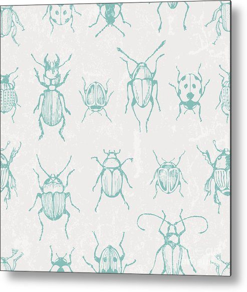 Clipping Metal Print featuring the digital art Seamless Print With Bugs. Eps 10 Vector by Ev-da