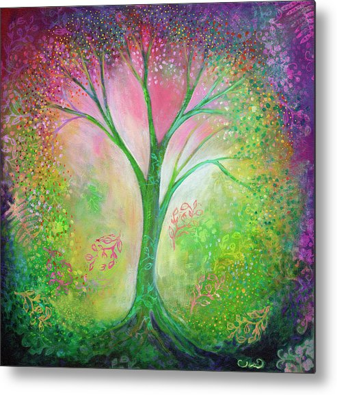 Tree Metal Print featuring the painting Tree Of Tranquility by Jennifer Lommers