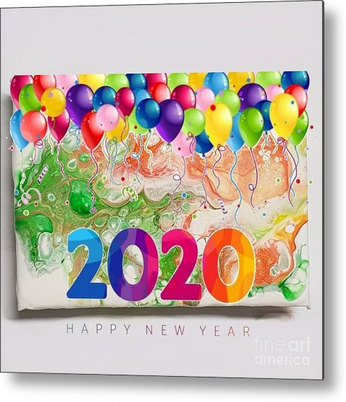 Happynewyear Metal Print featuring the mixed media Happy 2020 by Paola Baroni