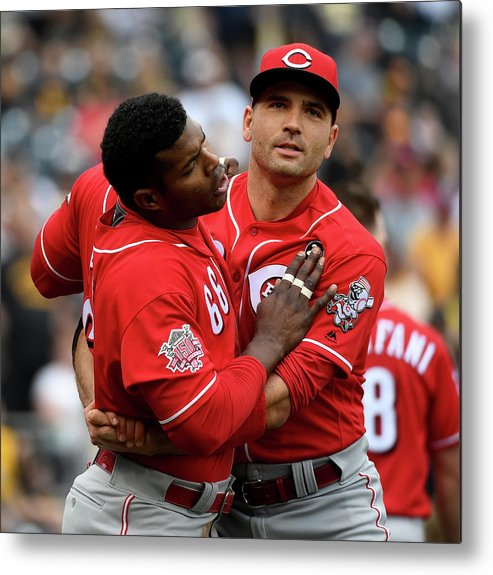 Three Quarter Length Metal Print featuring the photograph Yasiel Puig And Joey Votto by Justin Berl