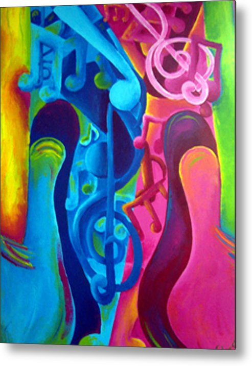 Vivid Contemporary Abstract Metal Print featuring the painting Guitars by Shasta Miller