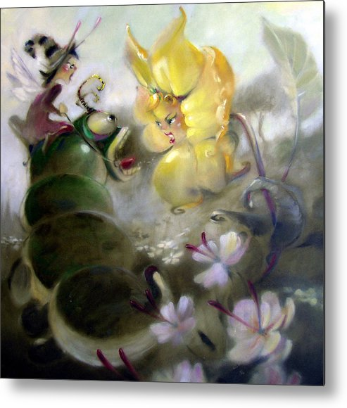 Fantasy Metal Print featuring the painting A Caterpillar Ride by Patrick McClintock
