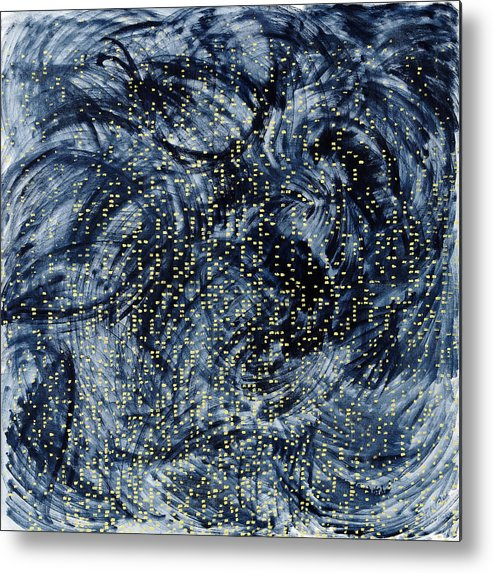 Painting Black Pattern Yellow Square White Grey Swirls Metal Print featuring the painting Into The Universe by Joan De Bot