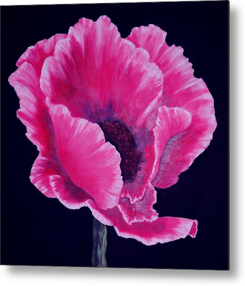Floral Metal Print featuring the painting Pink Poppy by SueEllen Cowan