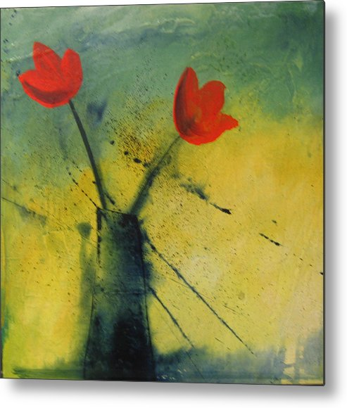Painting Metal Print featuring the painting Red Tulips by Carrie Allbritton