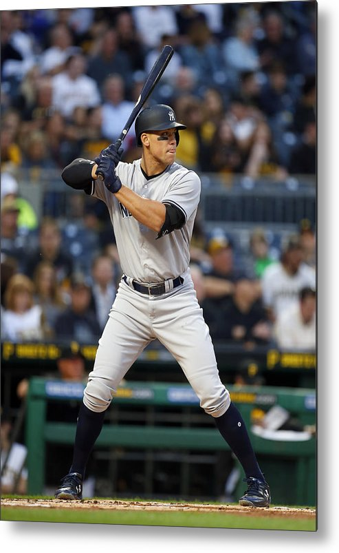 People Metal Print featuring the photograph New York Yankees v Pittsburgh Pirates by Justin K. Aller