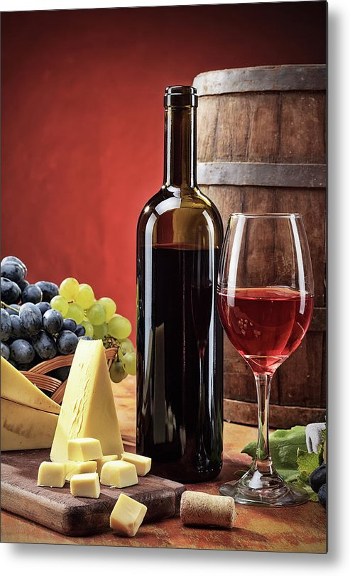 Cheese Metal Print featuring the photograph Red Wine Composition by Valentinrussanov
