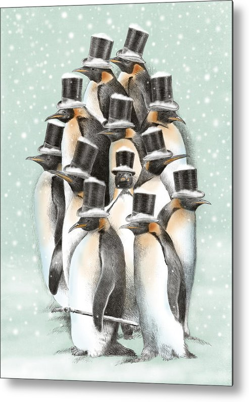 Penguins Metal Print featuring the drawing A Gathering in the Snow by Eric Fan