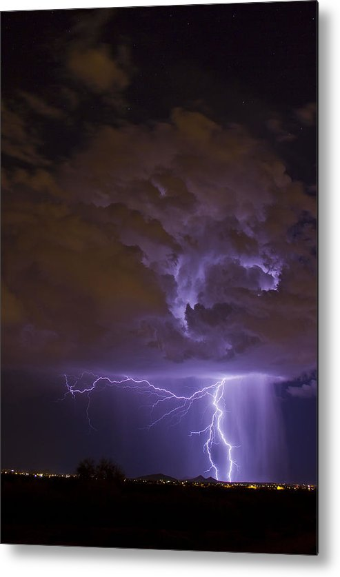 Arizona Lightning Photography Metal Print featuring the photograph A Night Stretch by Cathy Franklin