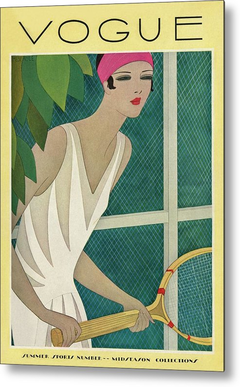Illustration Metal Print featuring the photograph A Vintage Vogue Magazine Cover Of A Woman by Harriet Meserole