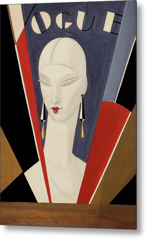 Fashion Metal Print featuring the digital art Art Deco Vogue Cover Of A Woman's Head by Eduardo Garcia Benito