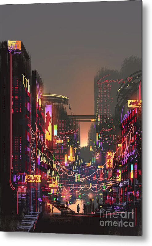 Decorate Metal Print featuring the digital art Cityscape Digital Painting Of Building by Tithi Luadthong